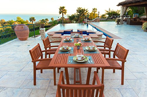 Malibu V232SET5 Eco-Friendly 7 Piece Wood Outdoor Dining Set with Rectangular Extension Table and Stacking Chairs