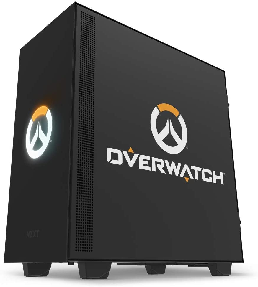 NZXT H500 – Compact ATX Mid-Tower PC Gaming Case – Light Up Overwatch Logo - Tempered Glass Panel- Enhanced Cable Management System – Water-Cooling Ready - Overwatch Edition - 2018 Model