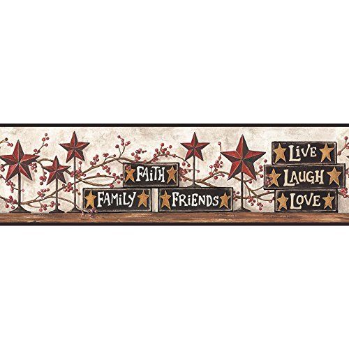 (York Wallcoverings Hearts and Crafts III Stars and Blocks on Shelf Border, Brown)