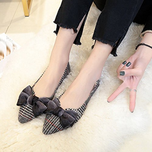 Robe Grille Orteils Femmes Chaussures Slip Gris Mocassins on Chaussés Oxford Jitian Bow Occasionnels Aplatis Penny 4gwqPqf
