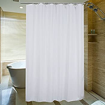 Aoohome Fabric Heavy Duty Shower Curtain Extra Long With Weighted Hem For Hotel Mildew Resistant Waterproof 72 X 84 Inch White