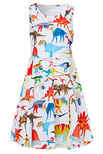 Girls Sleeveless Dress 3D Print Cute Animal Dinosaur Pattern White Summer Dress Casual Swing Theme Birthday Party Sundress Toddler Kids Twirly Skirt, Dinosaur, 10-13T