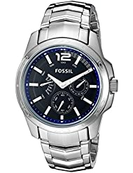 Fossil Mens BQ9346 Multifunction Stainless Steel Bracelet with Blue Dial