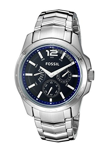 1858fa41f3da Amazon.com  Fossil Men s BQ9346 Multifunction Stainless Steel Bracelet with  Blue Dial  Fossil  Watches