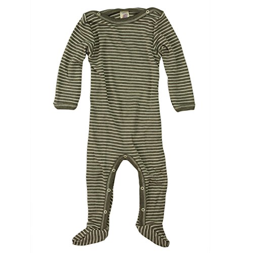 Engel 70% Organic Wool 30% Silk Baby Footed Pajamas Sleep Overall (62/68 (3-6 mo), Walnut/Natural) by Engel