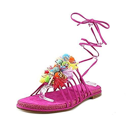 Stuart Weitzman Womens Noodles Suede Espadrille Flat Sandals Pink 6 Medium (B,M)