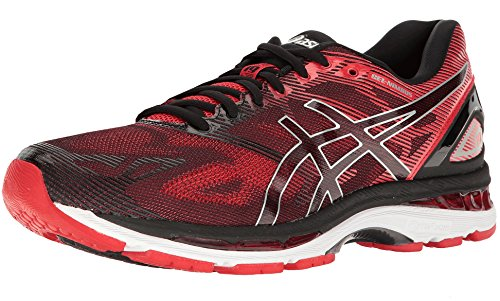 ASICS Men's Gel-Nimbus 19 Running Shoe, Black/Vermilion/Silver, 9.5 M US