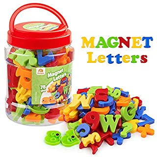 Coogam Magnetic Letters Numbers Alphabet Fridge Magnets Colorful Plastic ABC 123 Educational Toy Set Preschool Learning Spelling Counting Include Uppercase Lowercase Math Symbols for Toddlers (78 Pcs)