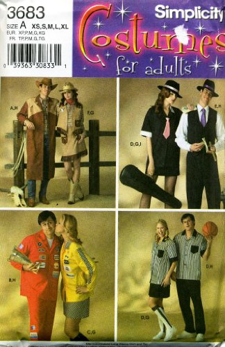 Simplicity Costumes for Adults Cowboy, Cowgirl, Jazz Musicians, NASCAR, Basketball Referees Sewing Pattern # -