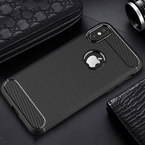 Tuff-Luv Housse de protection contre les chocs antidérapante TPU pour fibre de carbone brossé pour Apple iPhone 8 - Noir