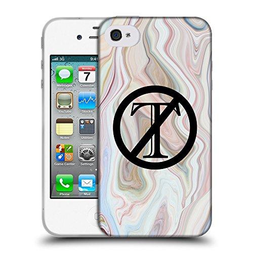 Super Galaxy Coque de Protection TPU Silicone Case pour // Q04120555 Trompette dehors marbre vague // Apple iPhone 4 4S 4G
