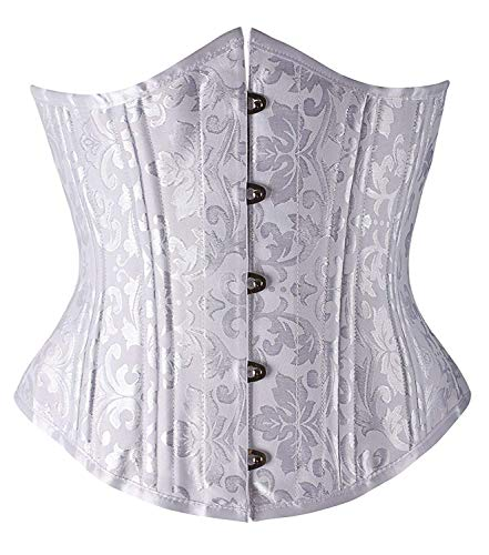 "Camellias Women's 26 Steel Boned Heavy Duty Waist Trainer Corset Shaper for Weight Loss, L/28"" (Fit Natural Waist 30""-32""), White Brocade"