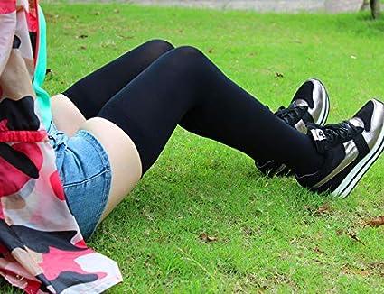 FUWUX Home Primavera y otoño Ganso Rodilla Medias de la Rodilla Medias en Blanco y Negro Medias del Estudiante Femenino Muslo Calcetines (Color : Beige): ...