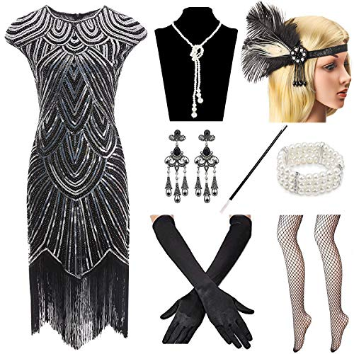 Women 1920s Vintage Flapper Fringe Beaded Gatsby Party Dress with 20s Accessories Set Black Silver ()