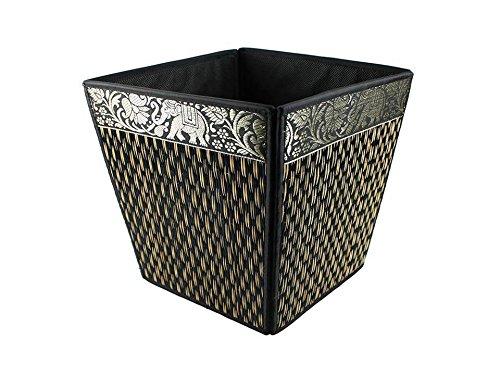 thai-elephant-paper-bin-wicker-reed-waste-traditional-oriental-pattern-thailand-black