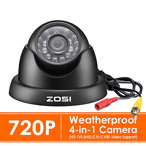 ZOSI 720P HD 1280TVL 1.0MP Hi-Resolution 4 in 1 TVI/CVI/AHD/CVBS CCTV Camera Home Security System Day/Night Vision For HD-TVI, AHD, CVI, and CVBS/960H analog DVR systems(Black)
