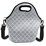 Insulated neoprene lunch bag zipper washable stretchy waterproof outdoor school travel picnic tote