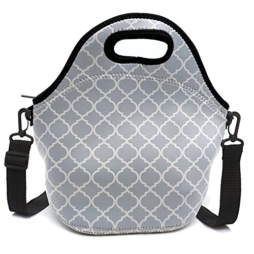 Insulated neoprene lunch bag zipper washable stretchy waterproof outdoor school travel picnic tote reusable bags boxes for men women adults(GRAY)