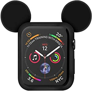 Lovely Cartoon Mouse Ears TPU Protective Cover for I Watch 40mm and 44mm, Anti-Scratch Soft Silicone Protector Bumper Frame Protective Case for iWatch Series 4 Girls Boys (Black, 40mm)
