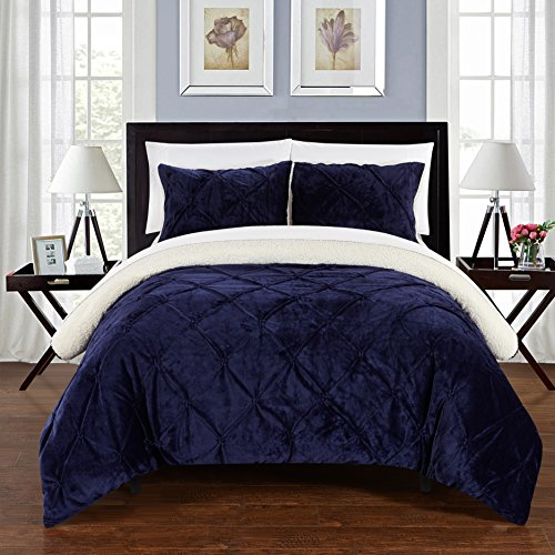 3 Piece King Bed (Chic Home CS5117-AN 3 Piece Josepha Pinch Pleated Ruffled And Pin Tuck Sherpa Lined Bed In A Bag Comforter Set, King, Navy)