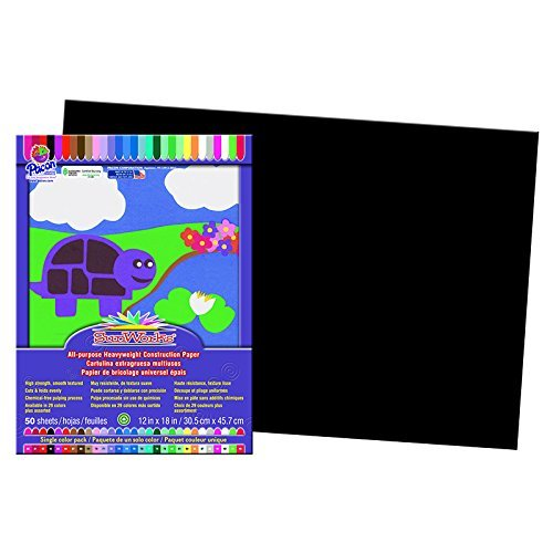 Pacon PAC6307BN Sunworks Construction Paper, Black, 12 X 18, 8 Packs/CT