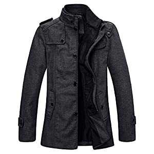 Wantdo Men's Wool Blend Pea Coat