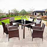 Wisteria Lane Outdoor Patio Dining Set,7 Piece Wicker Furniture Seating Conversation Rattan Chair Glass Table(Brown Wicker,Beige Cushions)