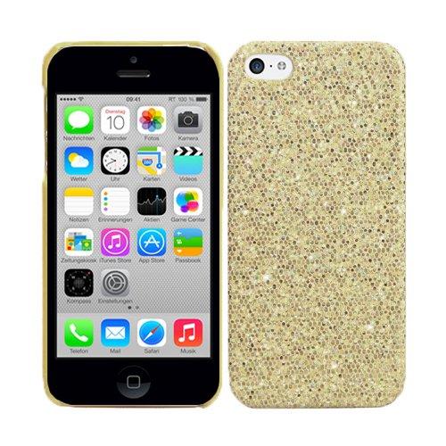 RT-TRADING Apple iPhone 5C Glitter Bling Glitzer Strass Hülle Hard Case Cover Etui Tasche in Gold