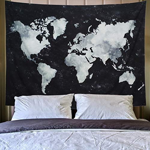 Lahasbja World Tapestry Map Tapestry Starry World Map Tapestry Apartment Essentials Black and White Tapestry Globe Galaxy Constellation Tapestry for Men Dorm Posters (L/78.7