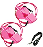 Fox 40 Pearl Safety Loud Pealess Outdoor, Survival, Boat Safety, Lifeguard Rescue, Marine Emergency Whistle + Breakaway Lanyards | 2pk Bundle + Koala Lanyard, Pink