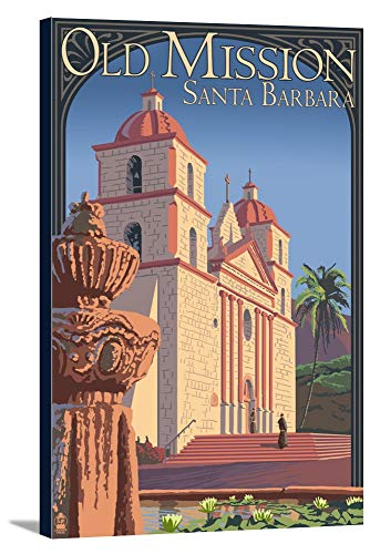 Old Mission - Santa Barbara, California (12x18 Gallery Wrapped Stretched Canvas)