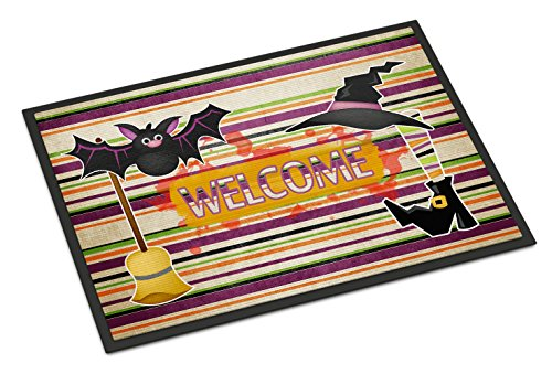 Caroline's Treasures Witch Costume and Broom on Stripes Halloween 18X27 Doormat, 18