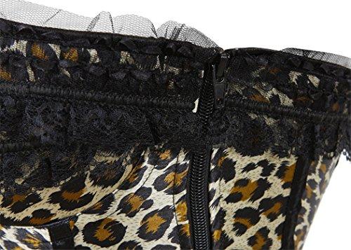 Rosfajiama Palace Satén Corset de Encaje Corsés y Lencería Wedding Bustier Underwear leopardo