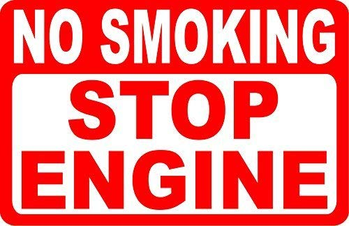 Vincenicy Metal Sign Great Aluminum Tin Sign No Smoking Stop Engine Sign Metal Gas Pump & Fire Safety Sign 8 X 12 Inch ()