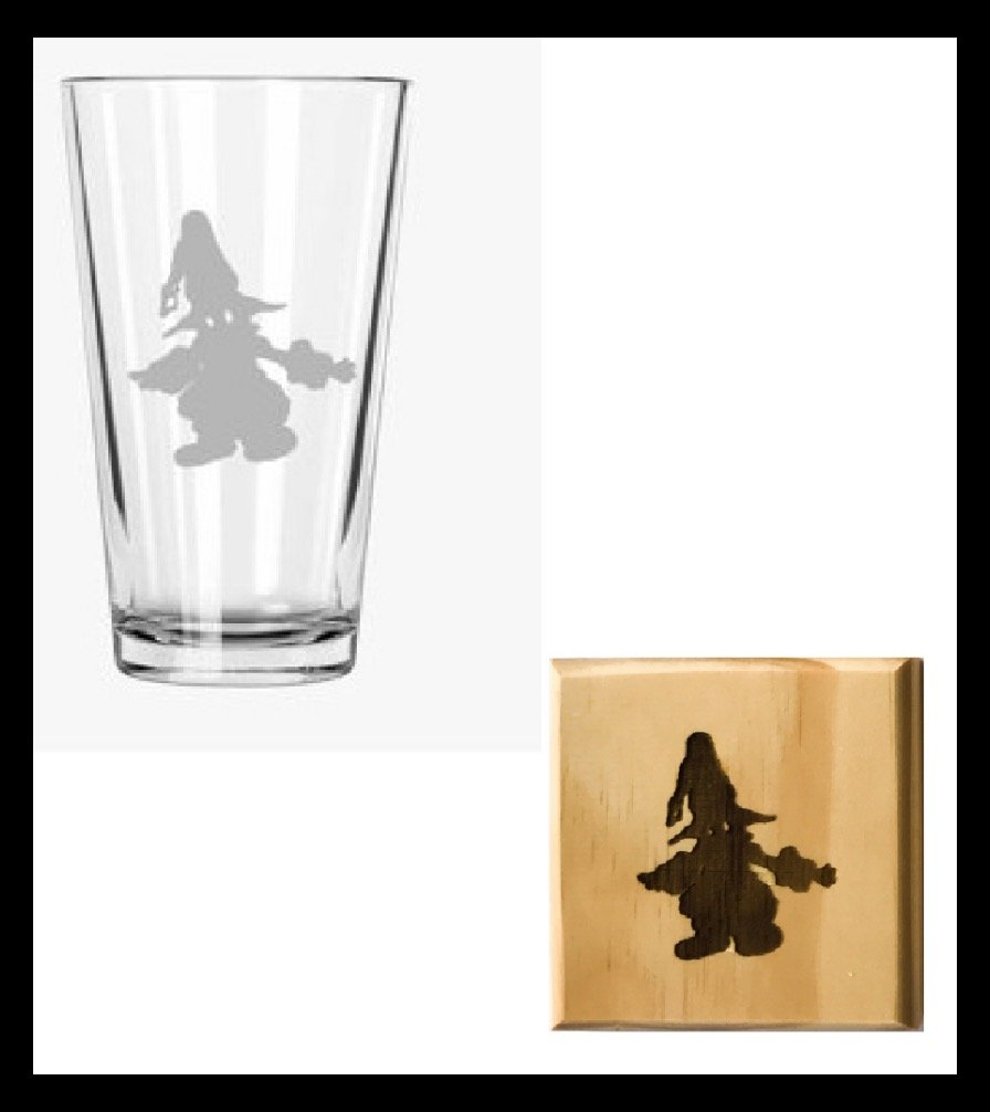 Final Fantasy Vivi Pint Glass and Wooden Coaster Set (by Brindle Designs)