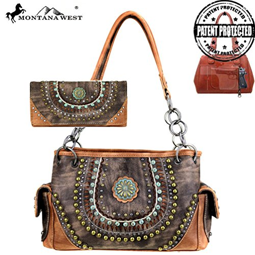 [Montana West Concho Collection Western Purse Wallet Set, Concealed Handgun Pocket (Brown/Coffee)] (Concho Collection)