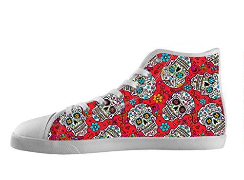 Kvinners Lerret Høy Topp Sko Day Of The Dead Utformingen Sukker Skallen Shoes09