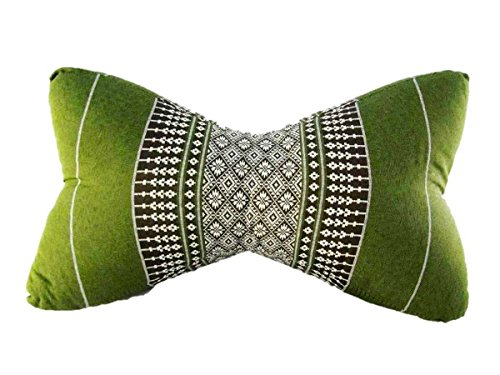 Thai Kapok Filling Daybed Reading Bed Rest Knee Wedge Bone Shaped Neck Pillow (Big Bone Daisy Green - Bolster Pillow Daisy