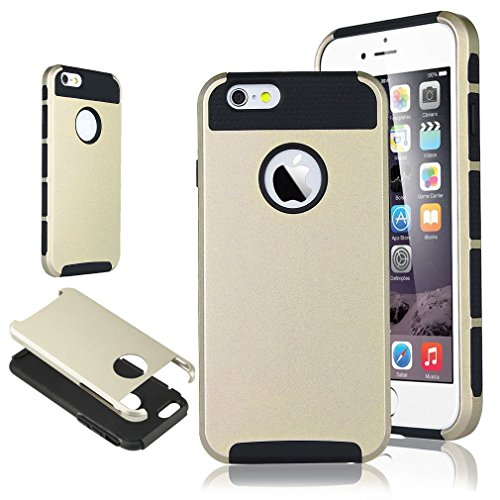 """For iphone 5C , ivencase Fashion 2 in 1 Hybrid Combination Slim [Silicone & PC] Protective Rear Case Cover for Apple iphone 5C (Gold & Black) + One """"ivencase """" Anti-dust Plug Stopper"""