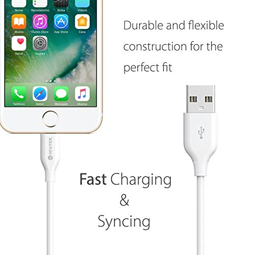 Spater 5-Feet iPhone Cable and a USB Travel Wall Charger for iPhone X, iPhone 8, iPhone 7/ 7s / 6 / 6s 5 / 5s, iPad Mini, iPod Touch, iPods by Spater (Image #2)