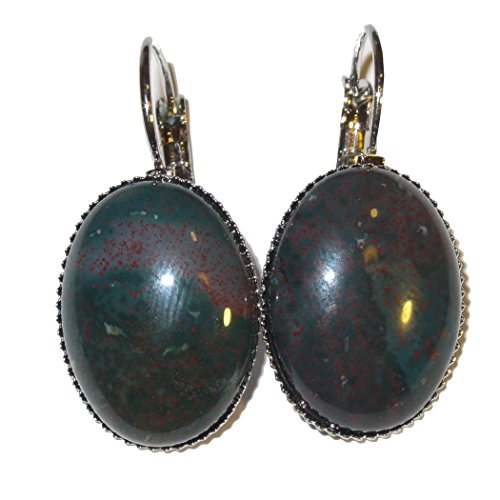 Bloodstone Earrings 02 Green Red Oval Bottlecap 20mm Health Crystals, Silver Lever Back 1.3