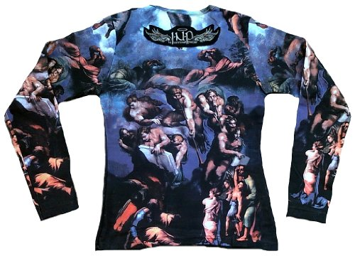 In Nomine Patre Damen Langarm T-Shirt Blau Detial from The fresco of the Last Judgement Engel Halleluja STgFFBOP