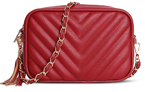 Evening Parties For Weddings Chevron Leather Body Ideal Cross Quilted Inspired Chevron Girl With Bag Chain Designer Clutch Gold Disco Shoulder Gossip Red Strap Bridal Faux Prom Tassel HwPqg1