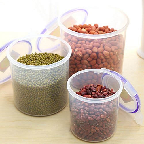 3 Piece Food Cereal/Snack Storage Container Set , Flexible Rubber Lid Keeps Contents Fresh And Secure, Clear