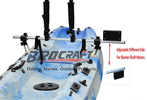 Brocraft Fishing Kayak Trolling Motor Mount Universal + Two Rocket Launching Rod Holder (Trolling Motor Mount)