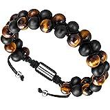 Depot Tresor Men's Bracelet Adjustable - Diffuser Bracelet Lava Rock Essential Oil Bracelet for Men's Gift (Black and Yellow Smooth)