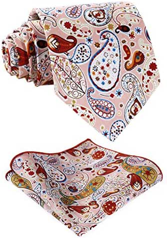 HISDERN Men's Cotton Paisley Necktie Set