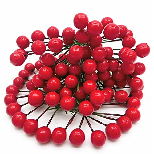 Berry Sleigh (Artificial Red Holly Berry Pick Branch Wreath Pack of 100 for Christmas Tree for wedding party)