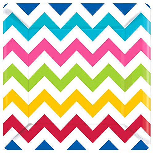 Party Ready Disposable Bright Chevron Print Square Dinner Plates Tableware, 8 Pieces, Made from Paper, Multicolored, 10