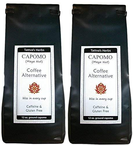 Capomo Herbal Coffee Substitute - Acid Free, Caffeine Free And Gluten Free - Natural Dark Roast - Organic Maya Nut , Ramon Seeds - 24 oz. From Tattva's Herbs